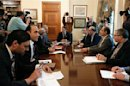 Cyprus' President Anastasiades chairs a meeting with party leaders and governor of the Central Bank of Cyprus at the presidential palace in Nicosia