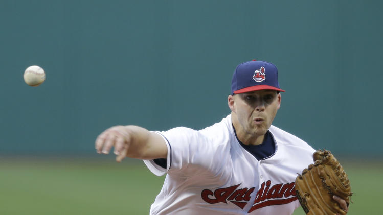 Cleveland Indians starting pitcher Justin Masterson delivers in the first inning of a baseball game against the Toronto Blue Jays, Friday, April 18, 2014, in Cleveland. (AP Photo/Tony Dejak)
