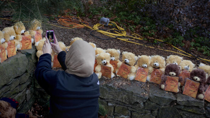 A mourner takes a picture of 26 teddy bears, each representing a victim of the Sandy Hook Elementary School shooting, at a sidewalk memorial, Sunday, Dec. 16, 2012, in Newtown, Conn. A gunman walked into Sandy Hook Elementary School in Newtown Friday and opened fire, killing 26 people, including 20 children. (AP Photo/David Goldman)