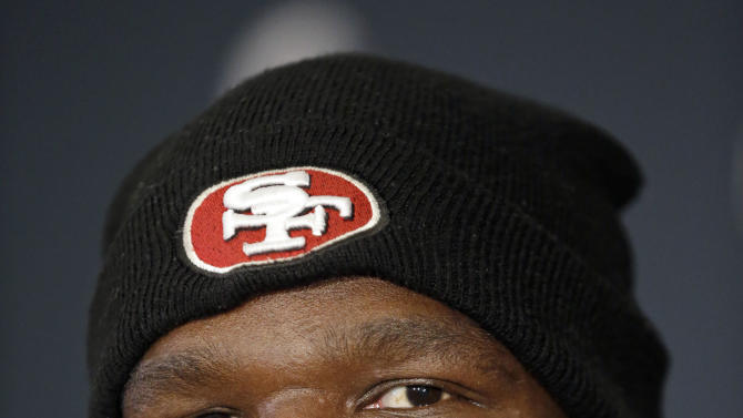 San Francisco 49ers running back Frank Gore talks with reporters during a news conference on Monday, Jan. 28, 2013, in New Orleans. The 49ers are scheduled to play the Baltimore Ravens in the NFL Super Bowl XLVII football game on Feb. 3. (AP Photo/Mark Humphrey)