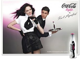 Coco Rocha in an ad for Coca-Cola Light by Karl Lagerfeld