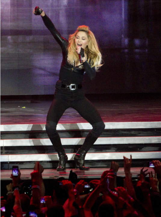 U.S pop icon Madonna at the Ramat Gan stadium nearTel Aviv, Israel, Thursday, May 31, 2012. Pop music star Madonna is kicking off her new world tour in front of tens of thousands of ecstatic fans in I