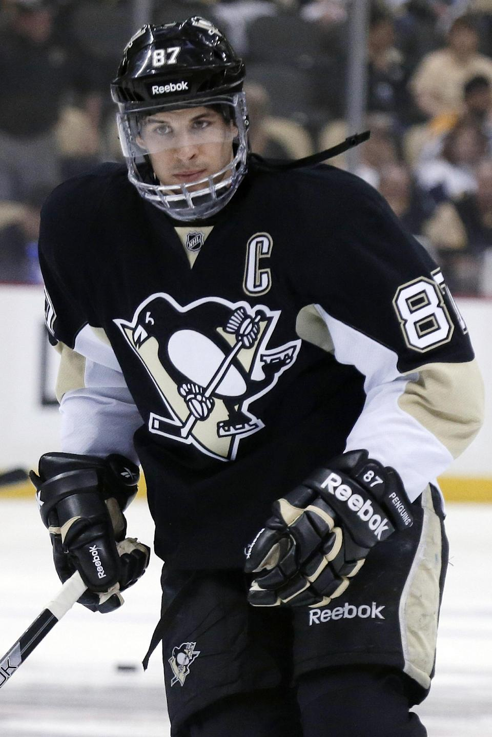 Pittsburgh Penguins' Sidney Crosby warms up before Game 2 of an NHL hockey Stanley Cup first-round playoff series against the New York Islanders, Friday, May 3, 2013, in Pittsburgh. (AP Photo/Gene J. Puskar)