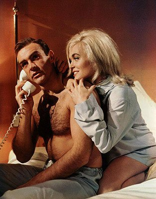 Sean Connery as James Bond and Honor Blackman as Pussy Galore star in Goldfinger