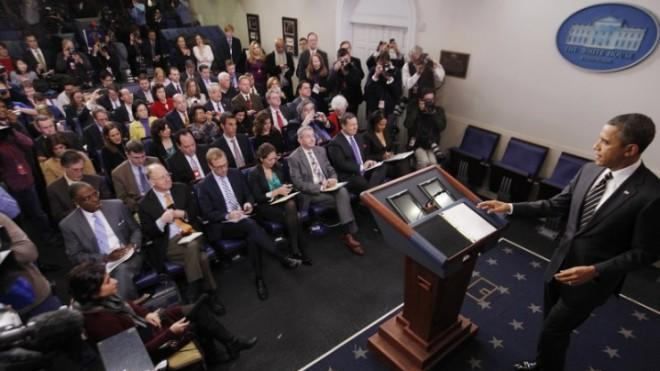 The White House press corps preps to pepper President Obama with questions on Feb. 5.