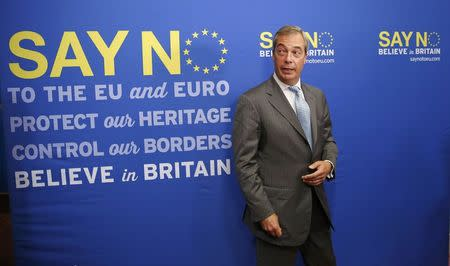 Nigel Farage the leader of Britain's anti-EU UK Independence Party arrives at a news conference in London