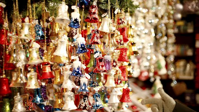 Decorations are displayed at the Christmas market in Munich