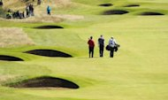 View of bunkers on the 7th hole during practice for the 2012 British Open Golf Championship at Royal Lytham & St Anne's in Lytham, north-west England, ahead of the Open Championship which begins on July 19
