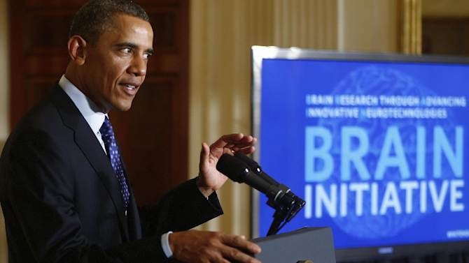 President Barack Obama speaks about the BRAIN (Brain Research through Advancing Innovative Neurotechnologies) Initiative, Tuesday, April 2, 2013, in the East Room at the White House in Washington. (AP Photo/Charles Dharapak)
