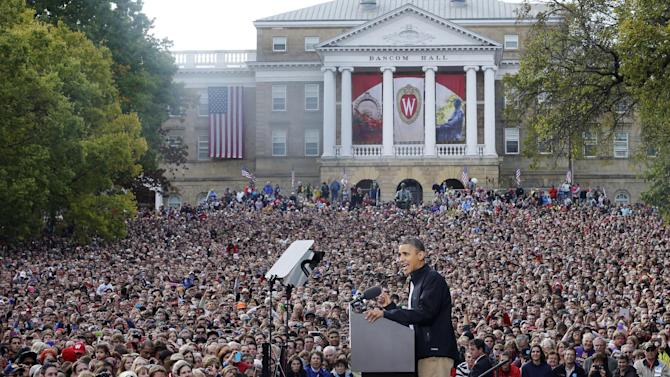 "FILE - In this Oct. 4, 2012, file photo President Barack Obama campaigns at the University of Wisconsin-Madison, the day after his first debate with Republican challenger Mitt Romney. Romney questioned Obama's veracity face to face during the debate, and said at one point ""you're entitled to your own airplane and your own house, but not your own facts"" in office. The next day in Wisconsin Obama told the crowd, ""You owe the American people the truth,"" as if he were addressing Romney. (AP Photo/Pablo Martinez Monsivais, File)"