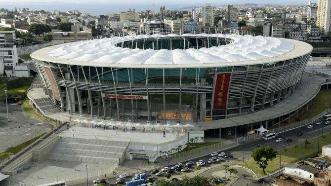 File photo of an aerial shot showing Arena Fonte Nova stadium in Salvador