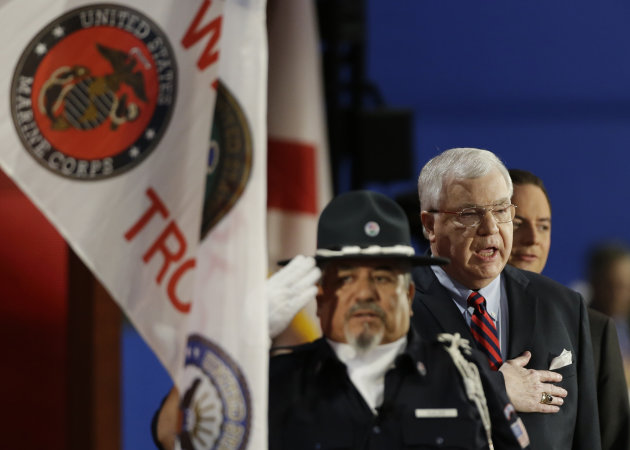 Retired U.S. Army Brigadier General Patrick Rea recites the Pledge of Allegiance during the Republican National Convention in Tampa, Fla., on Wednesday, Aug. 29, 2012. (AP Photo/Charlie Neibergall)