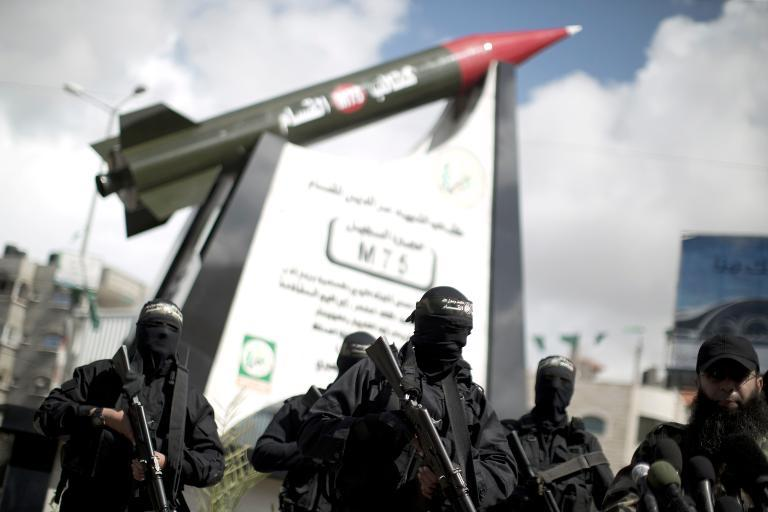 Hamas unveils rocket statue in Gaza City