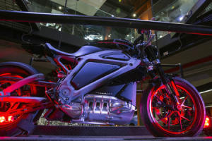 """An electric Harley Davidson motorcycle that is part of """"Project Livewire"""" stands as part of display in company's store in New York"""