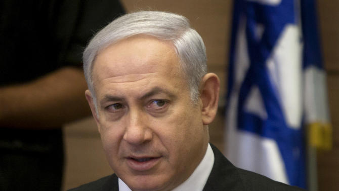 Israeli Prime Minister Benjamin Netanyahu, right, attends a meeting of the Foreign Affairs and Defense Committee, in the Knesset, Israel's parliament in Jerusalem, Monday, Aug. 1, 2011. (AP Photo/Sebastian Scheiner)