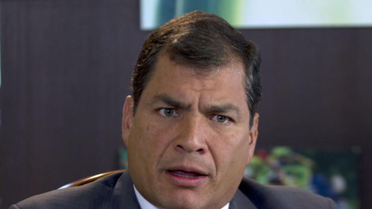 "Ecuador's President Rafael Correa, speaks during a interview with The Associated Press in Portoviejo, Ecuador, Sunday, June 30, 2013. Correa said he had no idea Snowden's intended destination was Ecuador when he fled Hong Kong for Russia last week. He said the Ecuadorean consul in London committed ""a serious error"" without consulting any officials in the capital, Quito, when the consul issued a letter of safe passage for Snowden. (AP Photo/Martin Mejia)"