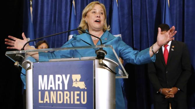 Senator Mary Landrieu speaks to voters during an early voting rally in Baton Rouge, Louisiana