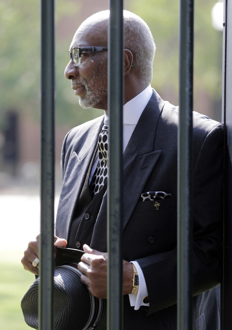 "Rev. Isreal Grant stands in Kelly Ingram Park in Birmingham, Ala., Friday, Sept. 6, 2013. Grant says he has never missed an election. ""My father quoted to me that there would never be a black president. If he were alive today, it would be too much for him."" (AP Photo/Dave Martin)"