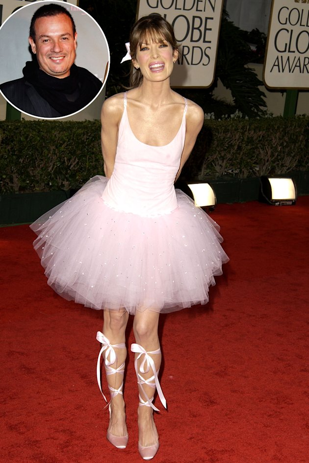 Lara Flynn Boyle at the 2003 Golden Globe Awards, Inset - designer David Cardona