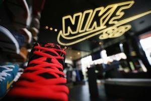 Shoes are displayed in the Nike store in Santa Monica in this file photo