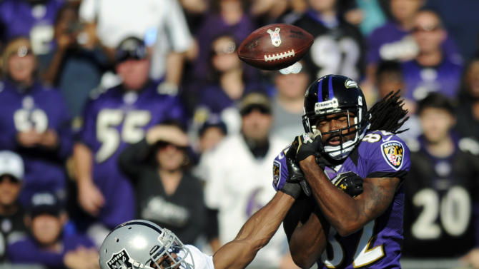 Oakland Raiders cornerback Michael Huff (24) breaks up a pass intended for Baltimore Ravens wide receiver Torrey Smith (82) in the first half of an NFL football game in Baltimore, Sunday, Nov. 11, 2012. (AP Photo/Nick Wass)