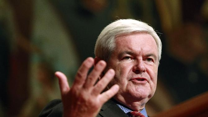 Republican presidential candidate former House Speaker Newt Gingrich speaks at Georgetown University, Wednesday, March 28, 2012, in Washington. (AP Photo/Haraz N. Ghanbari)