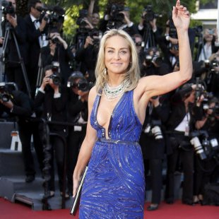 "Actress Sharon Stone arrives for the screening of the film ""Behind the Candelabra"" in competition during the 66th Cannes Film Festival"