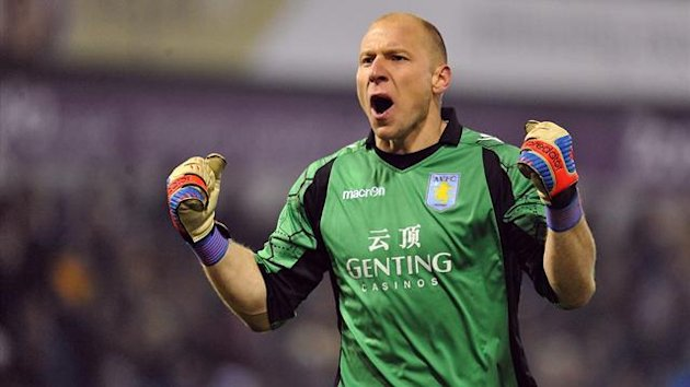 Aston Villa's Bradley Guzan celebrates his side's second goal (PA Photos)