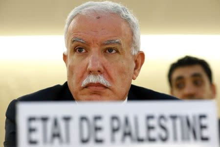 Palestinian Minister of Foreign Affairs Malki pauses before the 21st Special Session of the Human Rights Council in Geneva