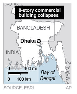 Map locates Dhaka, Bangladesh