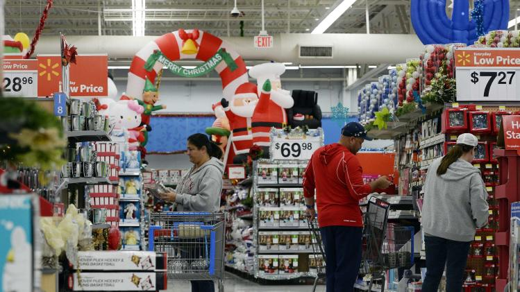 File photo of customers shopping for Christmas ornaments at a Walmart store in the Porter Ranch section of Los Angeles