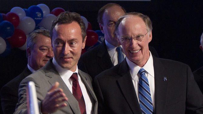 Alabama Gov. Robert Bentley, right, and Airbus President & CEO Fabrice Bregier celebrate the announcement that Airbus will establish its first assembly plant in the United States in Mobile, Ala., Monday, July 2, 2012. The French-based company said the Alabama plant is expected to cost $600 million to build and will employ 1,000 people when it reaches full production, likely to be four planes a month by 2017. (AP Photo/Dave Martin)