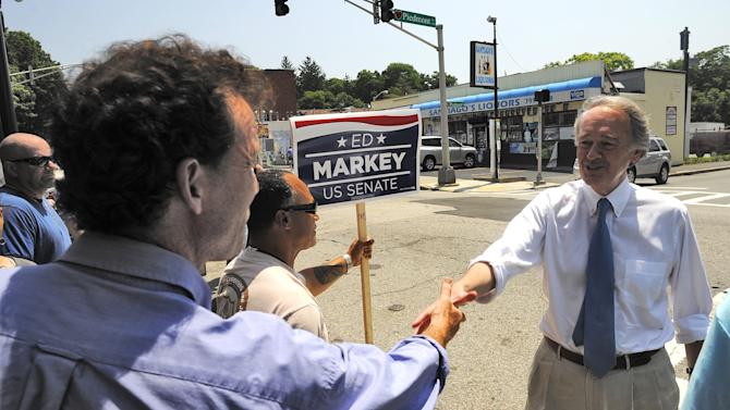 Massachusetts Senate Democratic candidate Ed Markey, right, meets and greets grassroots volunteers and supporters at the Pickle Barrel Restaurant & Deli, in Worcester, Mass., Monday, June 24, 2013. Markey and Republican Gabriel Gomez made appeals to voters Monday in the final hours before Massachusetts' special election for the U.S. Senate, where turnout is expected to be light, a contrast to the high-profile special election in the state three years ago. (AP Photo/Worcester Telegram & Gazette, John Ferrarone)