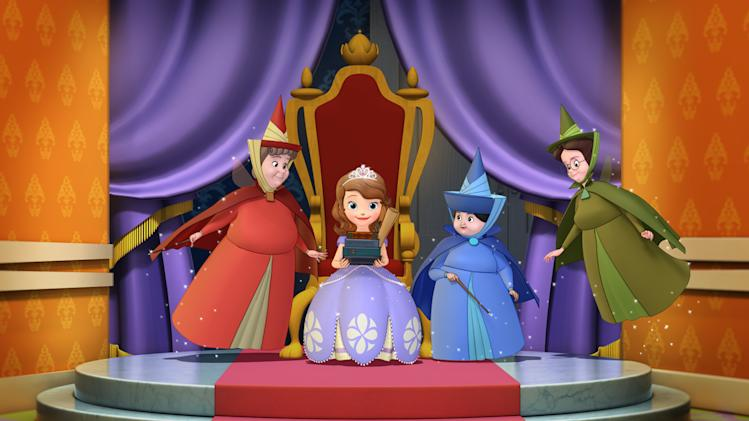 "This image released by Disney Junior shows the animated character Princess Sofia, voiced by Ariel Winter, seated, surrounded by her fairy Godmothers, Flora, left, Merryweather and Fauna, right, from the upcoming series ""Sofia the First."" The new series, about a girl who is learning to adjust to royal life after her mom marries the king, airs  Jan. 11, 2013 on the Disney Channel and Disney Junior networks. (AP Photo/Disney Junior)"