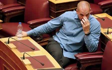 Former Greek Finance Minister Yanis Varoufakis attends a parliamentary session in Athens
