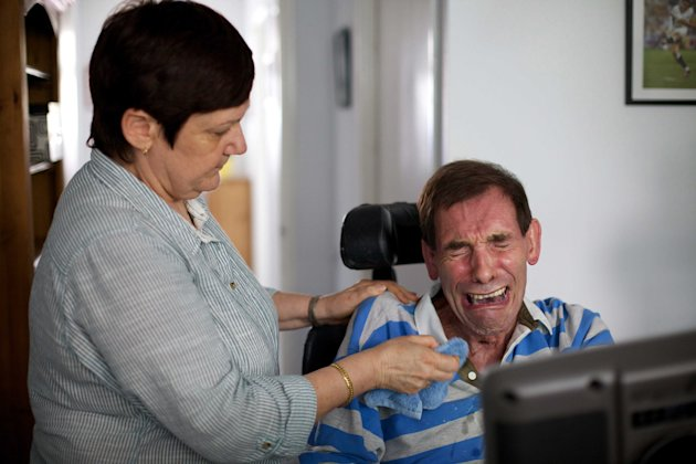 Tony Nicklinson, who has locked in syndrome, breaks down and cries as he hears the result from the High Court