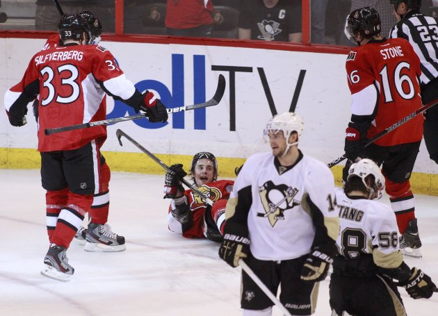 Senators' Kyle Turris celebrates after scoring on the Pittsburgh Penguins during the first period in Game 4 of their NHL Eastern Conference semi-final playoff hockey series in Ottawa