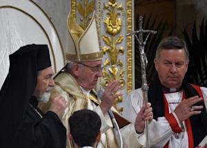 Pope Francis blesses at the end of the Vesper Prayer…