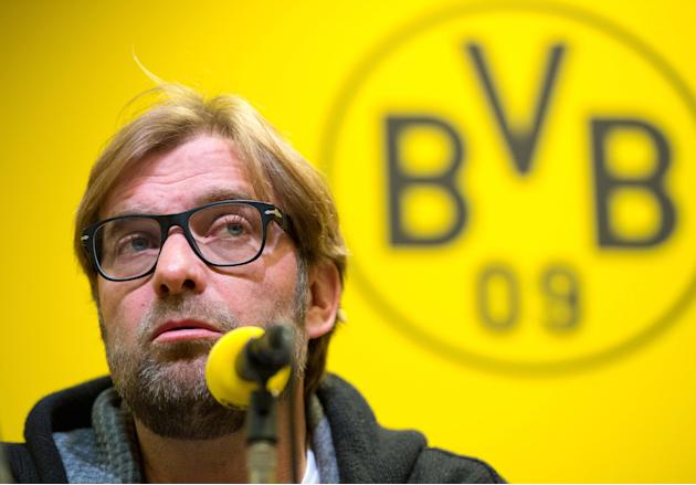 Dortmund's  coach Juergenn Klopp  attends a press conference in Dortmund , western Germany, Thursday Nov. 21, 2013. The team of Borussia Dortmund  will face rival Bayern Munich in a Bundesliga soccer
