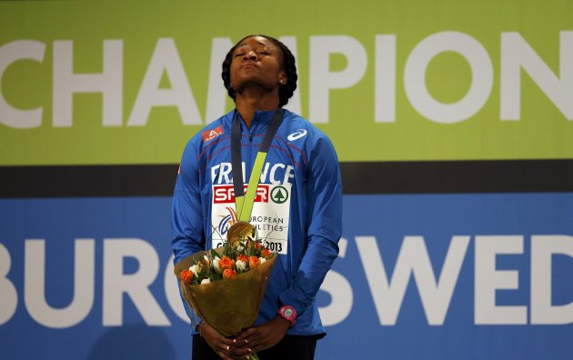 Winner Djimou of France reacts on the podium during the medal ceremony for the women's Pentathlon event at the European Athletics Indoor Championships in Gothenburg