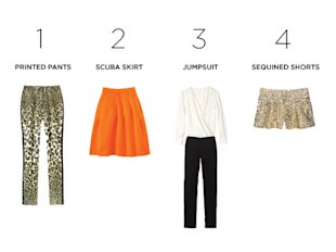 1. Metallic jacquard, $109, Giambattista Valli for Impulse Only at Macy's, macys.com. 2. Neoprene, $49, Joe Fresh, 888-495-5111. 3. Polyester