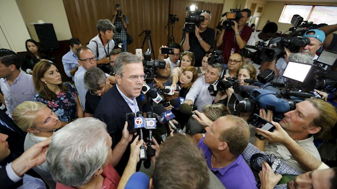 Jeb Bush speaks to media following town hall with high school students at La Progresiva Presbyterian School in Miami
