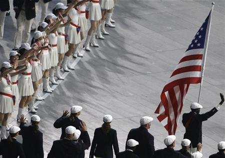 Olympic team of the U.S. follow their national flag-bearer Lopez Lomong during the opening ceremony of the Beijing 2008 Olympic Games