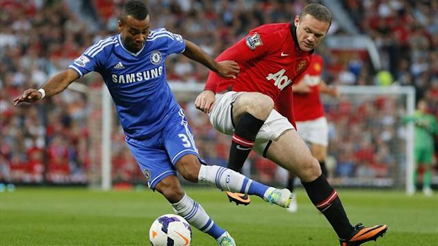 Manchester United's Wayne Rooney (R) challenges Chelsea's Ashley Cole (Reuters)