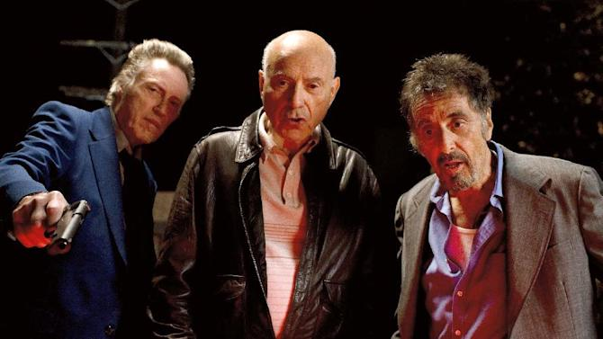 """This film image released by Roadside Attractions shows, from left, Christopher Walken as Doc, Alan Arkin as Hirsch, and Al Pacino as Val in a scene from """"Stand Up Guys."""" (AP Photo/Roadside Attractions, Saeed Adyani)"""