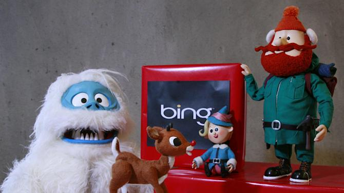This Nov. 15, 2011 photo, shows at the Microsoft office in San Francisco, from left, The Abominable Snowman, aka Bumble, with Rudolph the Red Nose Reindeer, Hermey, and Yukon Cornelius, all figures from the animated show Rudolph the Red Nose Reindeer. (AP Photo/Jeff Chiu)