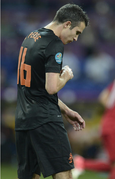 Dutch Forward Robin Van Persie Reacts AFP/Getty Images
