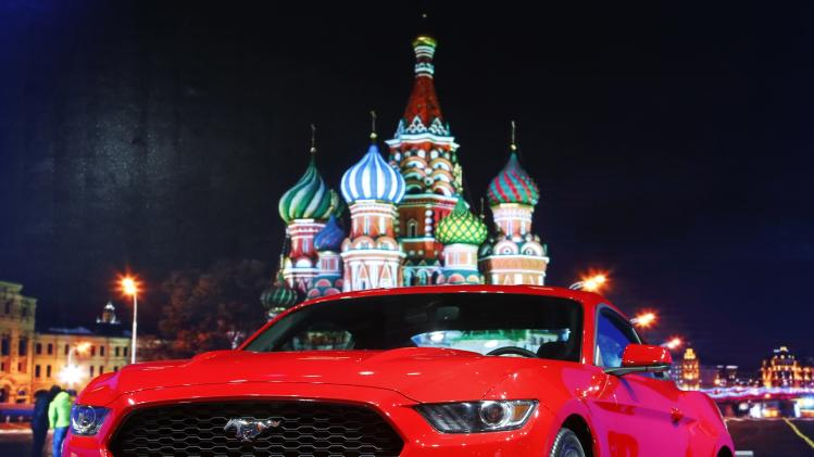 A 2015 Ford Mustang is on display during the Moscow International Automobile Salon in Krasnogorsk outside Moscow