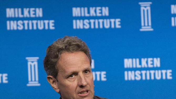 """Former U.S. Treasury Secretary Geithner talks during a panel discussion titled """"The Global Economy"""" at the Milken Institute Global Conference in Beverly Hills"""