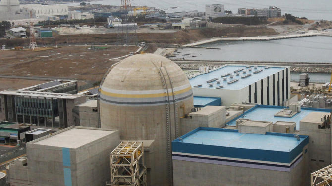 In this Feb. 5, 2013 photo, Shin-Kori No.2 nuclear power plant is seen in Ulsan, South Korea. On Tuesday, May 28, 2013, South Korea halted operation of two nuclear power plants, Shin-Kori No. 2 and Shin-Wolsong No. 1, unseen, after finding they used control cables that failed to pass tests, in another blow to the world's fifth-largest nuclear energy producer. (AP Photo/Ahn Young-joon)